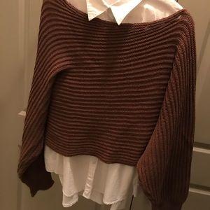 brown off shoulder sweater